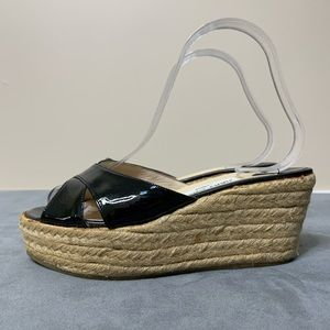 Jimmy Choo Patent Leather Espadrille Wedges (37)